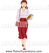 Retro Illustration of a Retro Brunette Female Secretary Carrying Documents by BNP Design Studio
