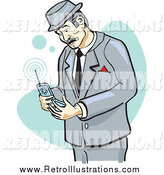 Retro Illustration of a Retro Businessman Glancing at a Cell Phone by Andy Nortnik