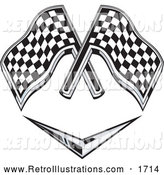 Retro Illustration of a Retro Checkered Racing Flags over a Chevron Symbol by Patrimonio