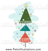 February 14th, 2015: Retro Illustration of a Retro Christmas Tree Tower over Blue by BNP Design Studio
