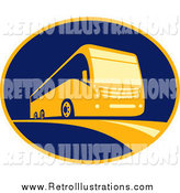 Retro Illustration of a Retro Coach Camper Oval Logo by Patrimonio