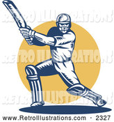Retro Illustration of a Retro Cricket Batsman by Patrimonio