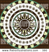 June 7th, 2013: Retro Illustration of a Retro Designed Yellow and Black Sun in the Center of Circles of Black, Yellow, and Green Floral Patterns over a Patterned Brown Background by Elaineitalia