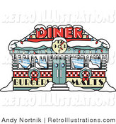 Retro Illustration of a Retro Diner Covered in Snow, Decorated in Christmas Wreaths and Lights by Andy Nortnik