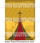 Retro Illustration of a Retro Grungy Airplane Taking off over Clouds by Elaineitalia