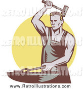 September 23rd, 2014: Retro Illustration of a Retro Hammering Blacksmith over a Yellow Circle by Patrimonio
