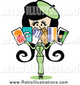Retro Illustration of a Retro Lady in a Green Suit, Holding a Bunch of Credit Cards by Andy Nortnik