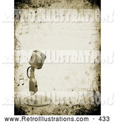 Retro Illustration of a Retro Microphone over a Grunge Background Bordered by Music Notes by KJ Pargeter