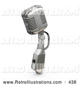 Retro Illustration of a Retro Microphone with a Switch, on a White Background by KJ Pargeter