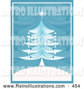 Retro Illustration of a Retro Old Fashioned Christmas Tree with a Star on Top, on a White Hill with a Blue Branch Patterned Background by KJ Pargeter