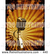 Retro Illustration of a Retro Old Fashioned Microphone over a Bursting Orange Background with Grunge Splatters by KJ Pargeter