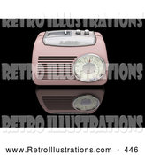 Retro Illustration of a Retro or Vintage Pink Radio with a Station Tuner, on a Reflective Black Surface by KJ Pargeter