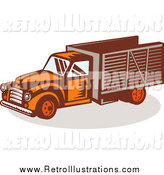 Retro Illustration of a Retro Orange Delivery Truck by Patrimonio