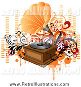 Retro Illustration of a Retro Phonograph with Orange and Red Vines, Circles and Equalizer Bars by OnFocusMedia