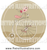Retro Illustration of a Retro Pink Bird on a Penny Farthing Bicycle in a Brown Circle by Yayayoyo