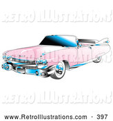 Retro Illustration of a Retro Pink Convertible 1959 Cadillac Car with Chrome Accents and the Top down by Andy Nortnik