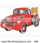 Retro Illustration of a Retro Red 1945 Ford Pickup Truck with a Spacfe Tire on the Side And, Chrome Accents, Red Wall Tires and Wooden Panels Along the Truck Bed by Andy Nortnik