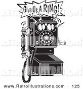 Retro Illustration of a Retro Ringing Black and White Wall Telephone by Andy Nortnik