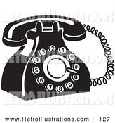Retro Illustration of a Retro Rotary Landline Telephone by Andy Nortnik