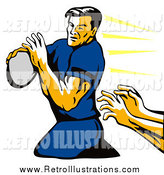Retro Illustration of a Retro Rugby Football Player and Hands Reaching by Patrimonio