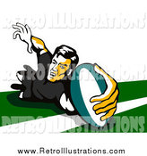 Retro Illustration of a Retro Rugby Football Player by Patrimonio