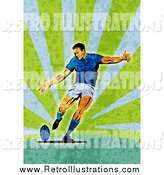 Retro Illustration of a Retro Rugby Player Kicking, Green Grunge by Patrimonio