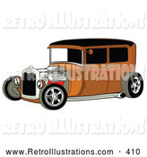 Retro Illustration of a Retro Rust Brown Vintage Rat Rod Car with a Black Roof, Red Accents and Chrome Wheels by Andy Nortnik