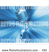 Retro Illustration of a Retro Silver Microphone over a Blue Bursting Background by KJ Pargeter