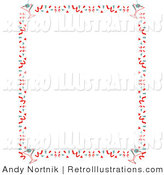 Retro Illustration of a Retro Stationery Background of with a Border of Confetti and Martinis by Andy Nortnik