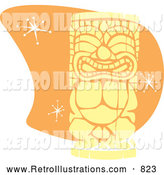 Retro Illustration of a Retro Tiki over Orange with Stars by Xunantunich