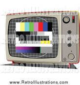 Retro Illustration of a Retro TV with an Emergency Broadcast Screen by