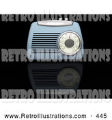 Retro Illustration of a Retro Vintage Blue Radio Box on a Reflective Black Surface by KJ Pargeter