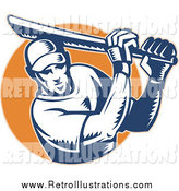Retro Illustration of a Retro Woodcut Male Cricket Batsman Emerging from an Orange Circle by Patrimonio