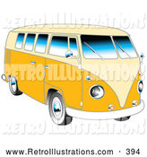 Retro Illustration of a Retro Yellow 1962 VW Bus with Chrome Detail and a Pale Yellow Roof and Accents by Andy Nortnik