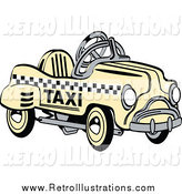 Retro Illustration of a Retro Yellow Toy Pedal Taxi Cab by Andy Nortnik