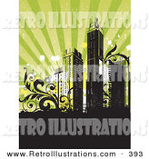 June 18th, 2013: Retro Illustration of a Retro-Revival Background with Silhouetted City Skyscrapers with Vines, over Black and Green by OnFocusMedia