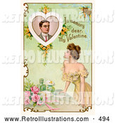 "Retro Illustration of a Romantic Painting of a Deceased Man with Text Reading ""In Memory Dear, My Valentine"" Circa 1910 by OldPixels"