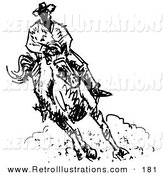 Retro Illustration of a Roper Cowboy on a Horse, Kicking up Dust by Andy Nortnik
