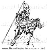 Retro Illustration of a Roper Cowboy on a Horse, Using a Lasso to Catch a Cow or Horse and Kicking up Dust by Andy Nortnik
