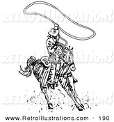Retro Illustration of a Roper Cowboy on a Horse, Using a Lasso to Catch a Cow or Horse in the County Rodeo by Andy Nortnik
