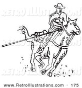 Retro Illustration of a Roper Cowboy on a Horse, Using a Lasso to Catch a Cow or Horse on a White Background by Andy Nortnik