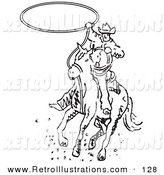 Retro Illustration of a Roper Cowboy on a Rodeo Horse Swinging a Lasso to Catch a Cow or Horse by Andy Nortnik