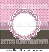 Retro Illustration of a Round Frame over a Pink Polka Dot and Brown Background by KJ Pargeter