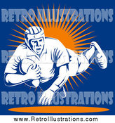 Retro Illustration of a Rugby Football Player Jumping by Patrimonio