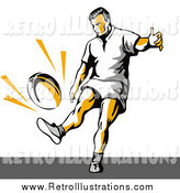 Retro Illustration of a Rugby Football Player Kicking by Patrimonio