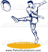 Retro Illustration of a Rugby Football Player Throwing by Patrimonio