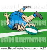 Retro Illustration of a Rugby Football Player Touching the Line by Patrimonio