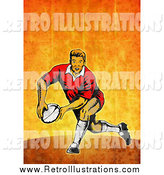 Retro Illustration of a Rugby Player Passing by Patrimonio