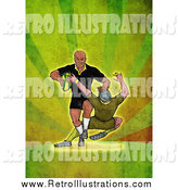 Retro Illustration of a Rugby Player Tackling over Green Grunge by Patrimonio