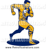 Retro Illustration of a Running Male Rugby Football Player by Patrimonio